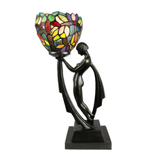 Art Décor Lady Figure Tiffany Glass Table Lamp