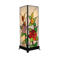 Floral Cube Tiffany Glass Table Lamp