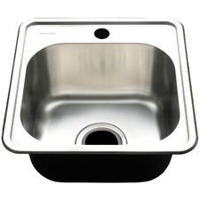 Square Edge Deep Single Bowl Kitchen Sink with Waste Basket