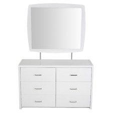 Kirribilli White Gloss Dressing Table & Mirror