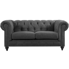 Grey Livia Studded 2 Seater Sofa