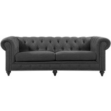 Grey Livia Studded Chesterfield 3 Seater Sofa