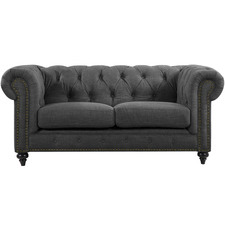 Grey Livia Studded Chesterfield 2 Seater Sofa