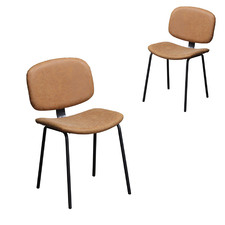 Industrial Faux Leather Dining Chair (Set of 2)