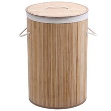 Round Helix Folding Bamboo Laundry Hamper