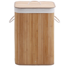 Rectangular Helix Folding Bamboo Laundry Hamper