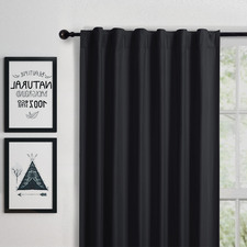 Black Albany Single Panel Concealed Tab Top Blockout Curtain
