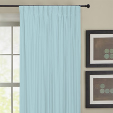 Blue Albany Pinch Pleat Blockout Curtains (Set of 2)