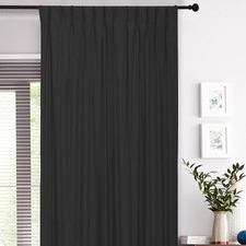 Black Albany Pinch Pleat Blockout Curtains (Set of 2)