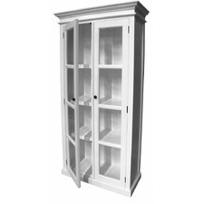 Distressed White Coastal Display Cabinet with 2 Glass Doors