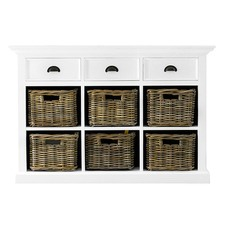 Halifax 3 Drawers and 6 Rattan Baskets Kitchen Buffet