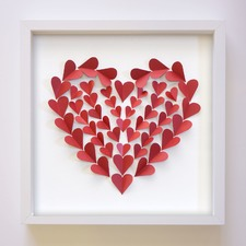 Hearts A Flutter Handcrafted Paper Art Frame