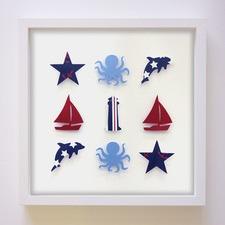 Nautical Birth Print And Paper Art Trio