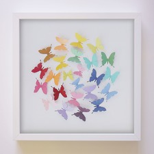 Rainbow Butterfly Ball Handcrafted Paper Art Frame
