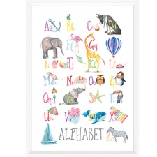 Watercolour Alphabet Educational Framed Print