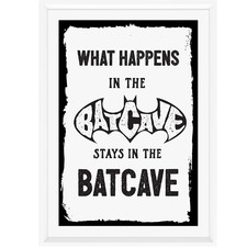 White What Happens in the Batcave Framed Print