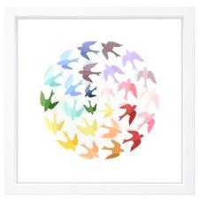 Rainbow Wren 3D Ball Paper Framed Print