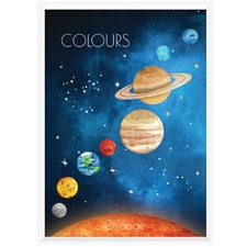 Watercolour Space Colours Framed Print