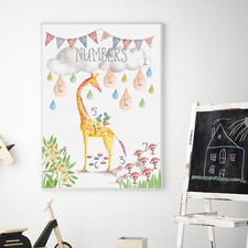Watercolour Numbers Educational Framed Print