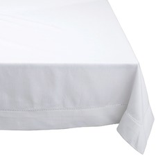 White Hemstitch Cotton Tablecloth