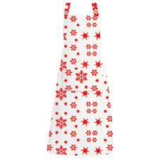 Red Christmas Snowflake Pocketed Cotton Apron