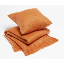 Orange Soft Fringed Throw Rug