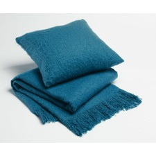 Blue Soft Fringed Throw Rug