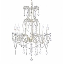 Shabby Paris 5 Light Glass Crystal Chandelier White