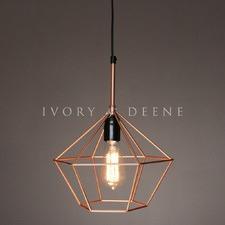 Copper Diamond Cage Wire 1 Light Pendant