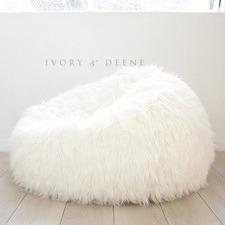 Lush Fur Beanbag Cover White