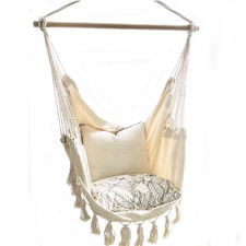 Cream Soho Hand Woven Cotton Hammock Chair