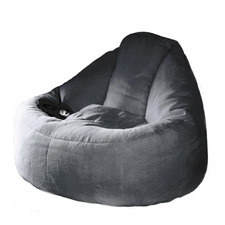 Charcoal Plush Faux Fur Beanbag Cover