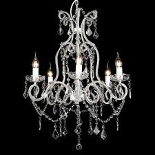Shabby Paris 5 Light Glass Crystal Chandelier White