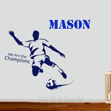 Personalised Name with Soccer Player and Soccer Wall Sticker Set