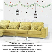 Bird Cages and Birds with Vine Wall Decal Set