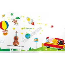 A Space Adventures with Friends Kids Removable Wall Sticker