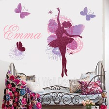 NamePersonalised Name Glitter Ballerina and Butterflies Wall Sticker