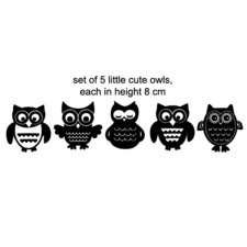 5 Little Owls DIY Wall Decal