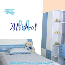 Personalised Name with Airplane Removable Wall Sticker