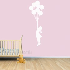 Floating Balloons and Girl Wall Decal