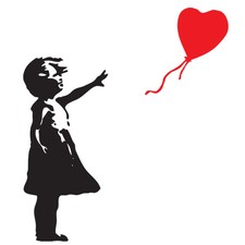 Little Girl and Floating Balloon Wall Decal