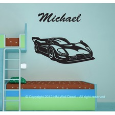 Personalised Name and Race Car Wall Sticker