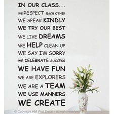Class Rule Wall Quote Decal for School