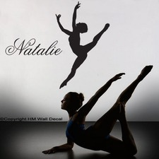 Personalised Name and Gymnastic Girl Wall Art Sticker