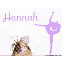 Personalised Name and Gymnastic Girl Wall Decal