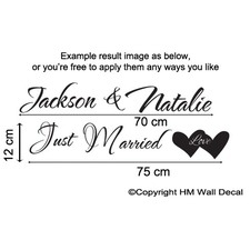 Personalised Just Married  Wall Sticker