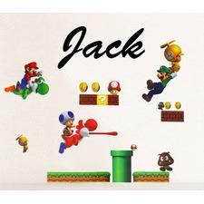 Personalised Name with Mario, Luigi, Yoshi, Toad Wall Sticker Set