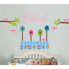Personalised Name and with Birds, Branch, Floral Wall Sticker