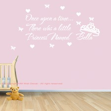 Personalised Name and Once Upon A Time, There Was A Little Princess Named .... Wall Sticker
