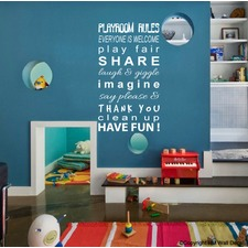90cm Playroom Rules Wall Art Decal